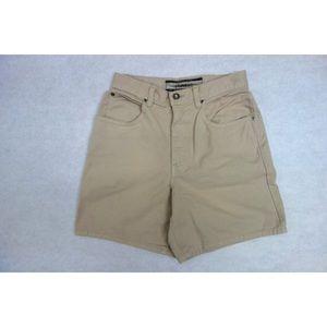 High Waisted Tan Denim Midi Shorts